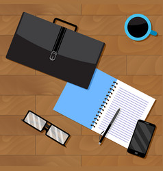Top view of business notebook and briefcase with vector