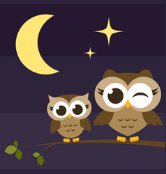 two cute owls on branches at night vector image