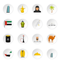 Uae travel set flat icons vector