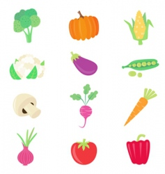 Vegetable food set vector