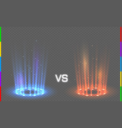 Versus round blue and red glow rays night scene vector