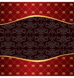 Vintage red background with frame of golden vector image