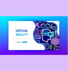 Virtual reality neon landing page vector