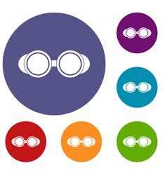 Welding glasses icons set vector