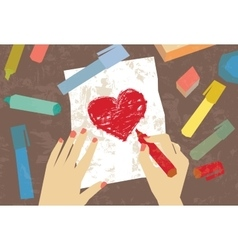 Woman hands love letter drawing heart vector image