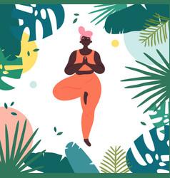woman in vrksasana yoga tree asana pose vector image