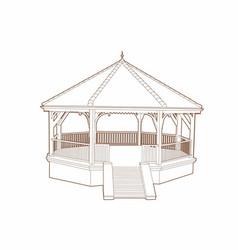 Wooden musical kiosk vector