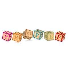 Word PEOPLE written with alphabet blocks vector image