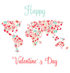 world map with elements for valentines day vector image