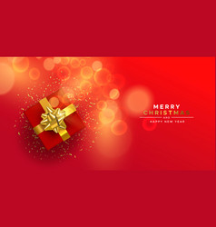 year red gold top view gift box card vector image