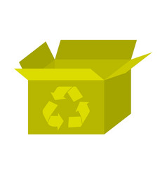 yellow box open with recycle symbol icon vector image