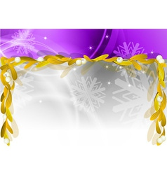 christmas banner with gold mistletoe vector image