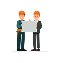 construction engineer or architect and foreman in vector image vector image