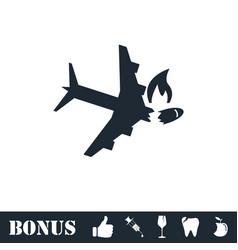 Crash plane icon flat vector image