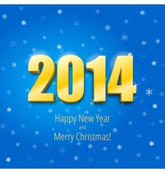 Happy new year 2014 three-dimensional gold figures vector image