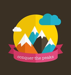 Mountain design with ribbon vector image vector image