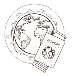 passport ticket globe plane resorts and tourism vector image