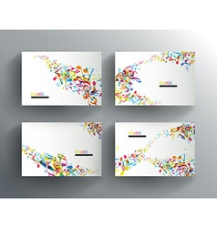 Set of website banners with colorful music notes vector image vector image