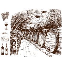 vintage winery wine production handmade draft vector image