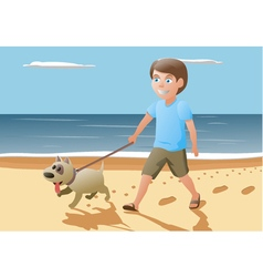 boy and dog walking on vector image vector image