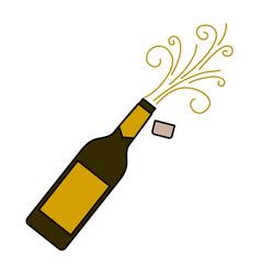 champagne bottle cork explosion drink celebration vector image vector image