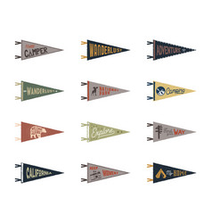 set of adventure surfing camping pennants retro vector image vector image