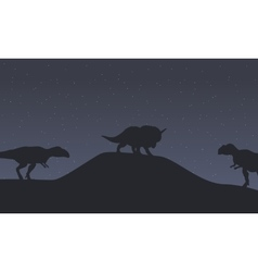 Silhouette of mapusaurus and triceratops dinosaur vector image vector image