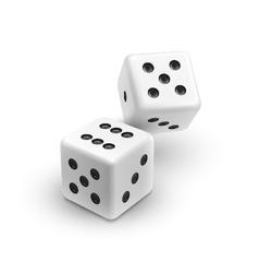 Two white dices casino icon vector image