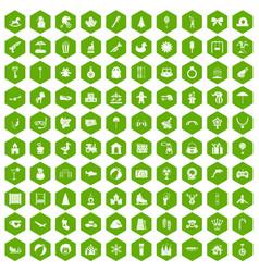 100 happy childhood icons hexagon green vector image vector image