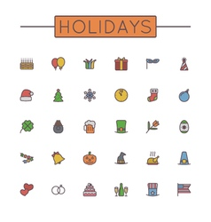 Colored holidays line icons vector