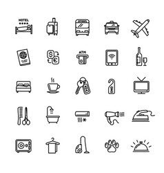hotel services related set 25 light outline icons vector image vector image