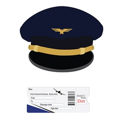 Pilot cap and airplane ticket vector image
