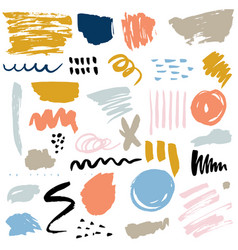 set of brush strokes abstract elements ink stains vector image vector image