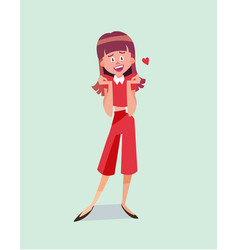 single cartoon girl vector image vector image