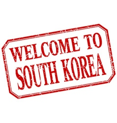 South Korea - welcome red vintage isolated label vector image vector image
