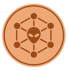 alien network bronze coin vector image