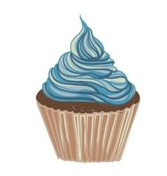 Vintage drawing cupcake vector image vector image