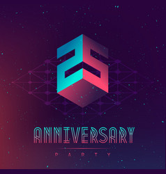 25 anniversary night party electronic music fest vector