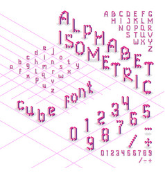 3d isometric alphabet font from cubes vector image