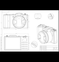 3d model of the camera on a white vector