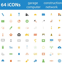 64icon garage construction computer network vector image