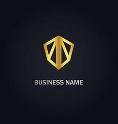 abstract shield geometry company logo vector image