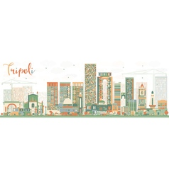 Abstract Tripoli Skyline with Color Buildings vector image