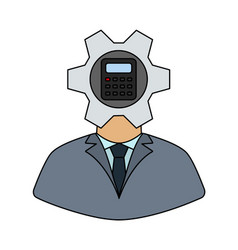 Analyst with gear hed and calculator inside icon vector