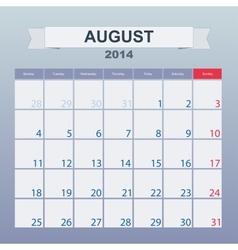 August 2014-planning calendar vector