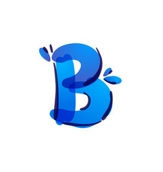 B letter eco logo with blue water drops vector