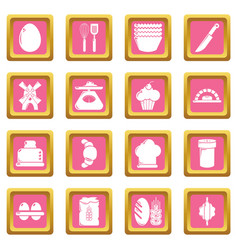 Bakery icons set pink square vector
