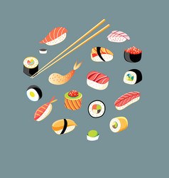 Beautiful set different sushi vector