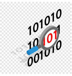 Binary code and magnifying glass isometric icon vector