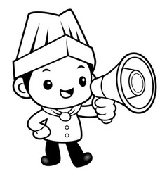 black and white funny chef mascot apprised the vector image